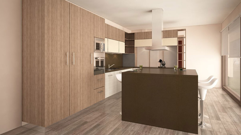 BM Diseño cocina tendencia moderna avellano 6